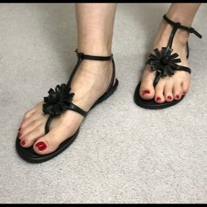 Cole Haan Black Leather Flower Sandal 8.5